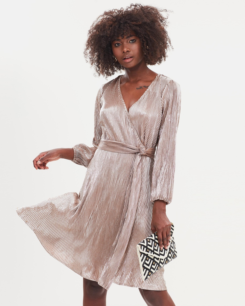 Atmos & Here ICONIC EXCLUSIVE Dandie Sparkle Wrap Dress Dresses Metallic Sparkle ICONIC EXCLUSIVE Dandie Sparkle Wrap Dress