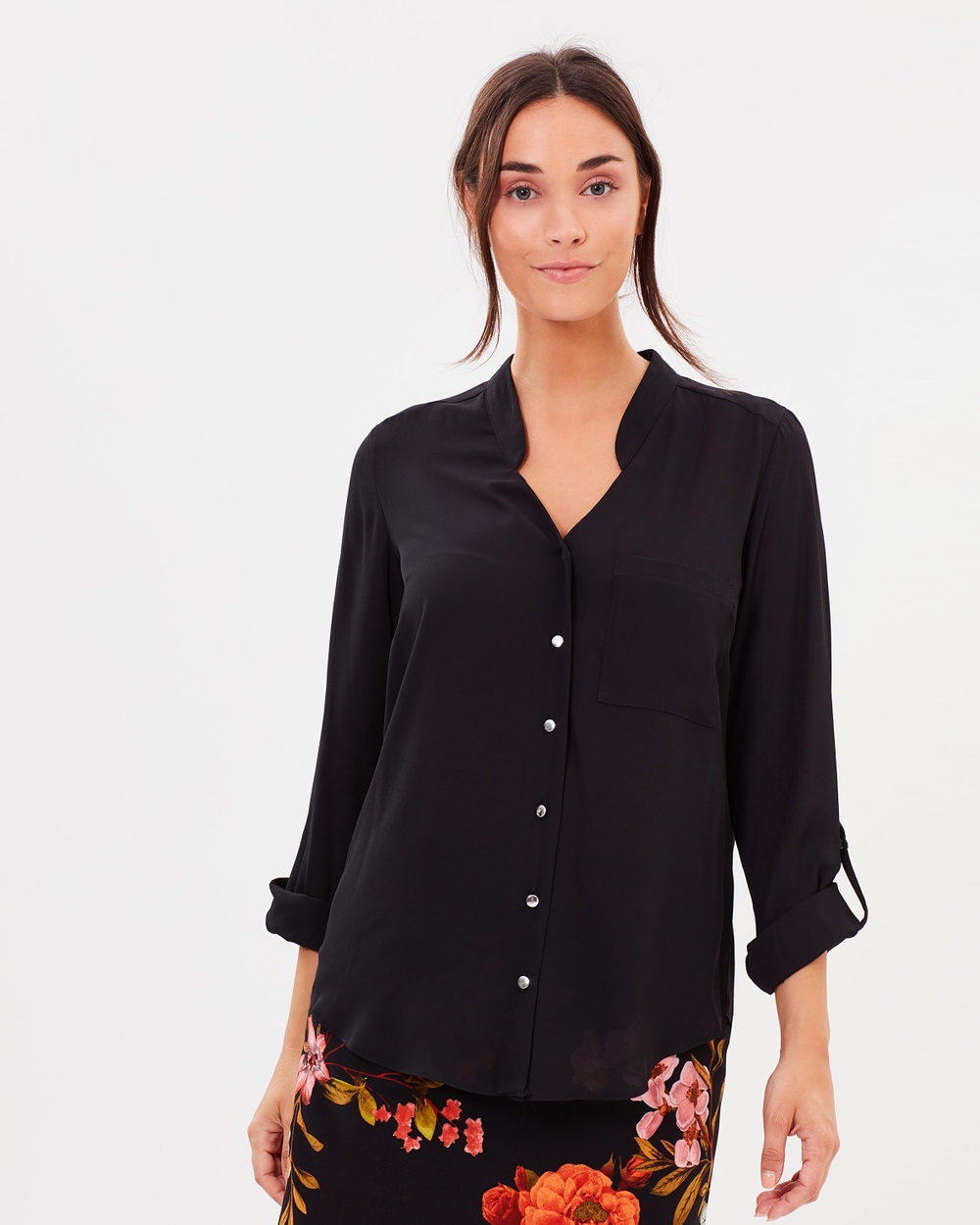 Dorothy Perkins Notch Shirt Tops Black Notch Shirt
