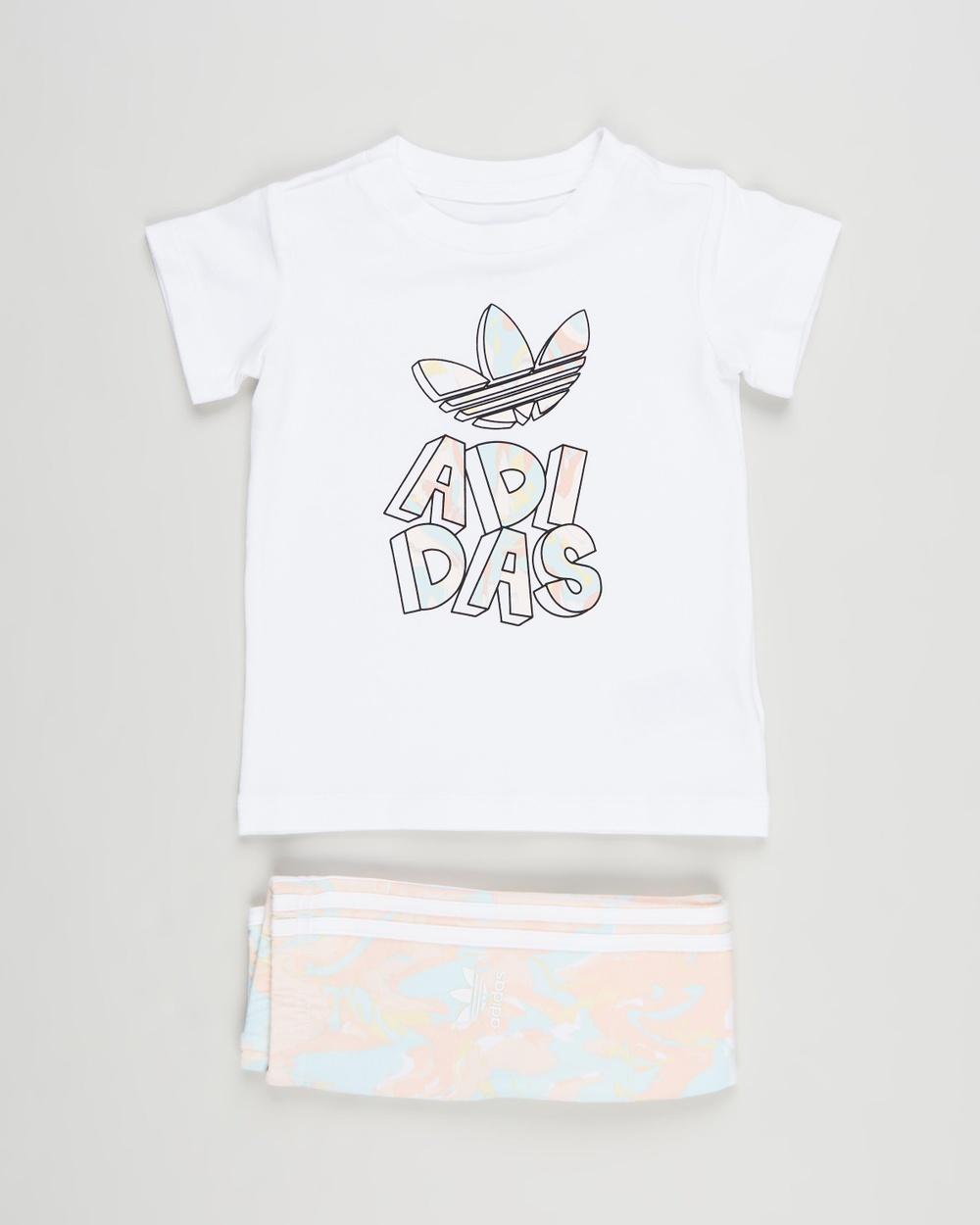 adidas Originals Marble Print Tee Dress & Tight Set Babies Kids Pants White Babies-Kids