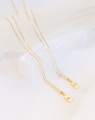 Luna Rae Solid Gold   The Letter V Necklace - Jewellery (Gold)