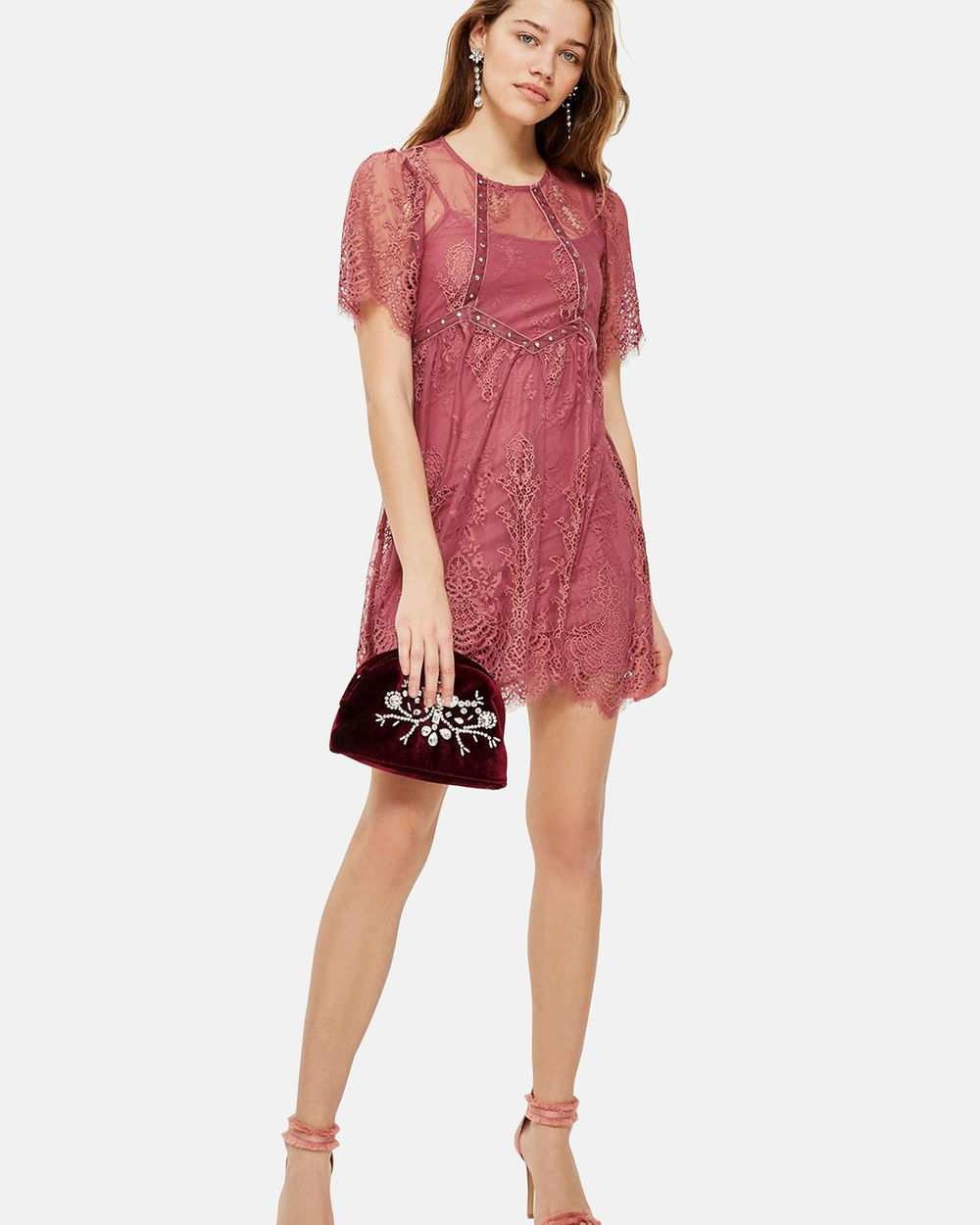 TOPSHOP Velvet Trim Lace Flippy Dress Dresses Dark Pink Velvet Trim Lace Flippy Dress