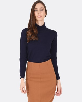 Forcast – Casey Turtle Neck Knitted Sweater – Tops (Navy)