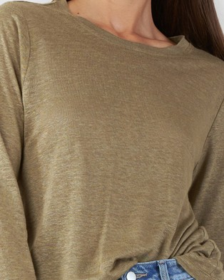 Amelius Priya Long Sleeve Linen T Shirt - Tops (Khaki)