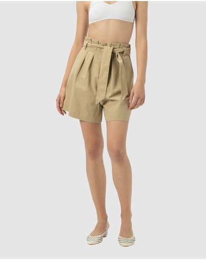 Cools Club High Rise Pleat Shorts Beige