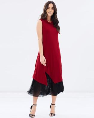 Faye Black Label – Grandeur Layered Pleat Dress Red