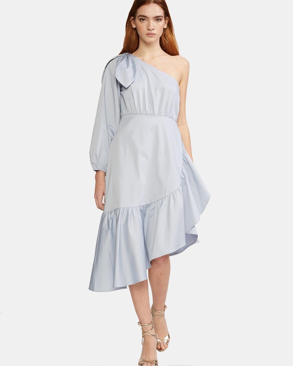 Cynthia Rowley Aleeza One Sleeve Dress Dresses Blue Aleeza One Sleeve Dress