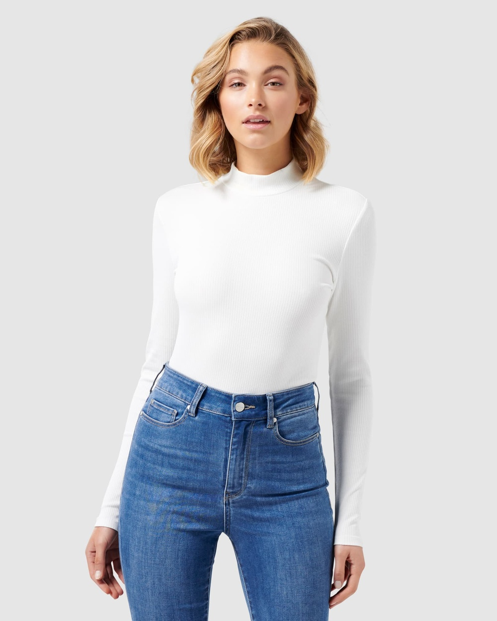 Forever New - Brandi High Neck Rib Long Sleeve Top - Tops (Porcelain) Brandi High Neck Rib Long Sleeve Top