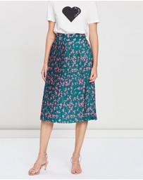 BY JOHNNY. - Floral Pleated Midi Skirt