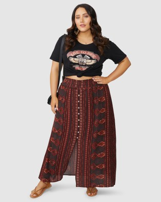 The Poetic Gypsy Love Spice Maxi Skirt - Skirts (Red)