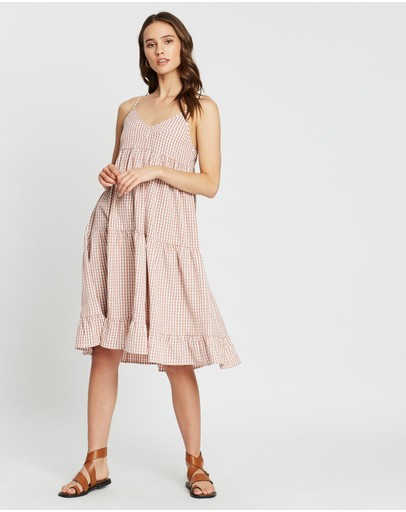 Atmos&here Checked Tiered Dress Pink