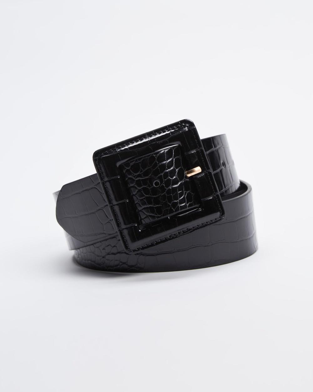 Atmos&Here Tina Square Buckle Belt 43mm Belts Black Croc