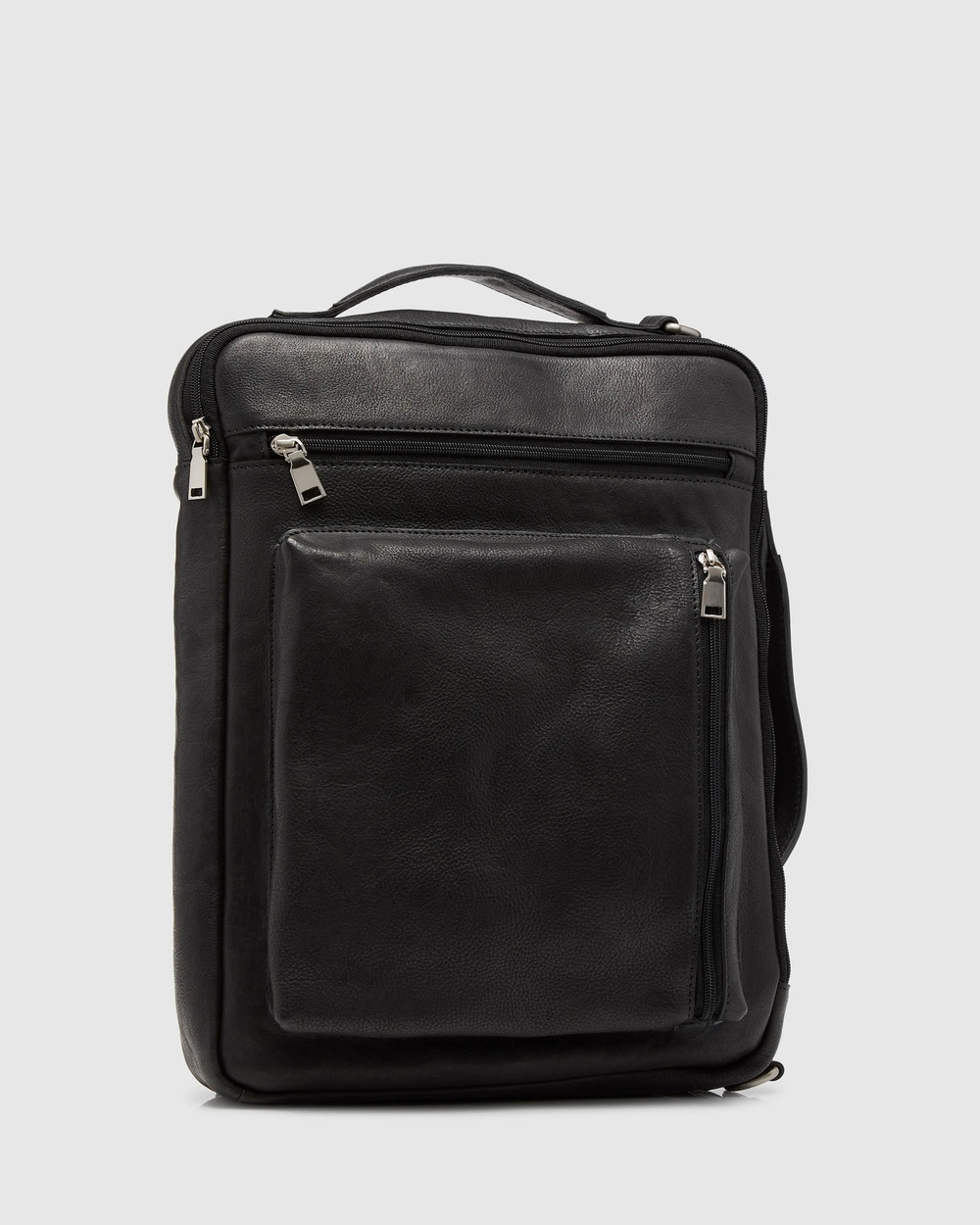 Oxford Swift Leather Backpack Briefcase Bags Black
