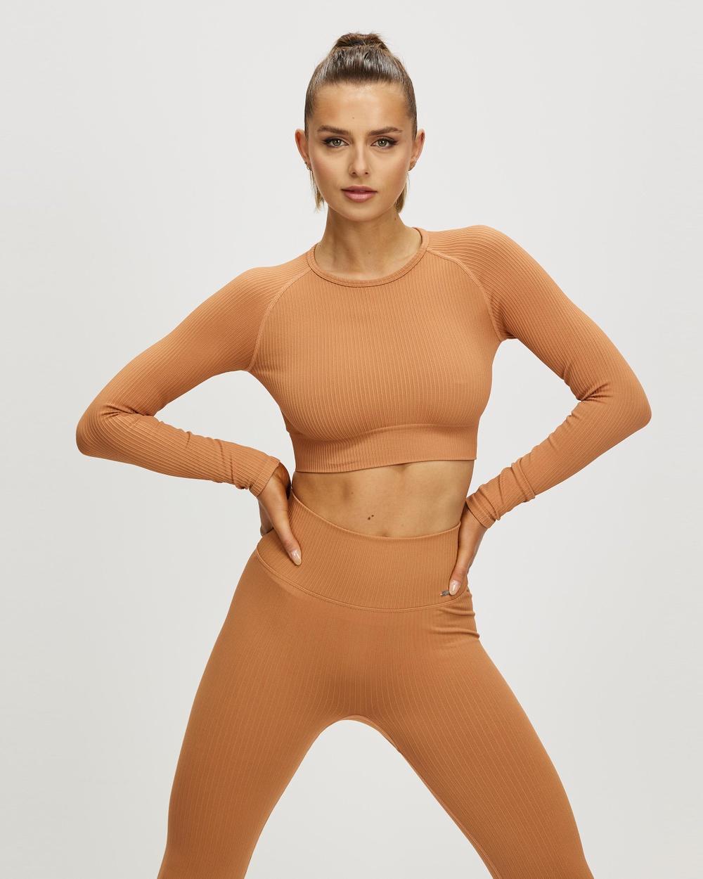 Aim'n Ribbed Seamless LS Crop Long Sleeve T-Shirts Cayenne Australia