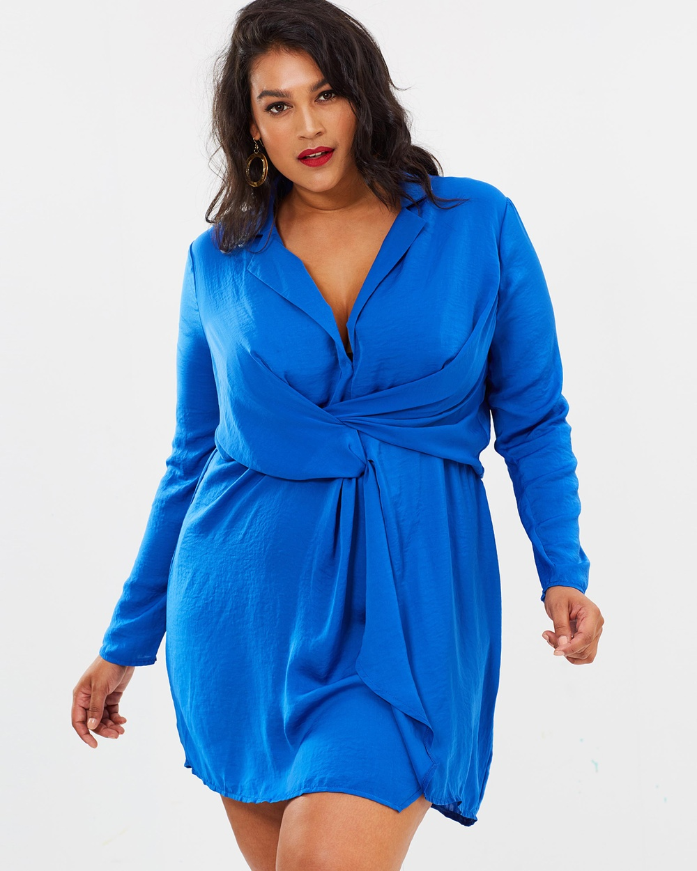 Missguided Curve Satin Plunge Wrap Dress Dresses Blue Satin Plunge Wrap Dress