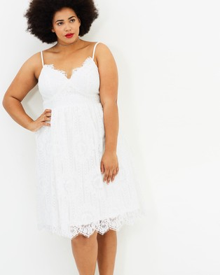 Atmos & Here Curvy – Marcie Lace Midi Dress – Bodycon Dresses White