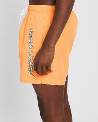 Calvin Klein Ck Wave Medium Drawstring Swim Shorts - Swimwear (Orange Pop)