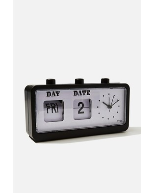 Typo Retro Flip Clock - Home (Matte Black)