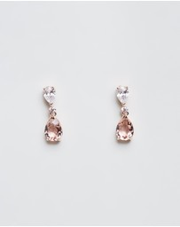 Swarovski - Vintage Pear Pendant Rose Gold Earrings and Swarovski Crystal