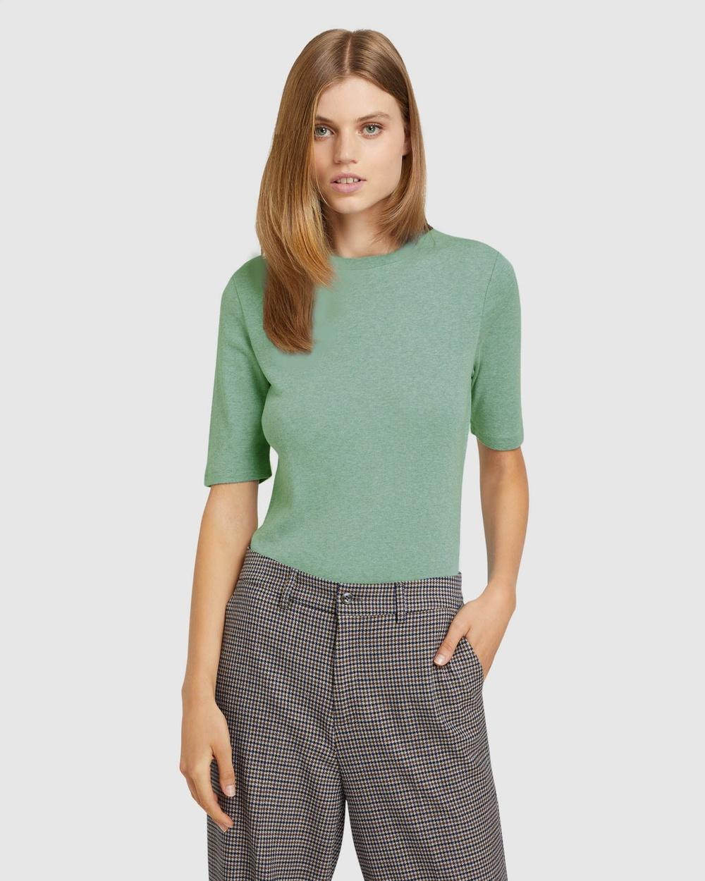 Oxford Jasmine Rib T shirt Long Sleeve T-Shirts Green T-shirt Australia