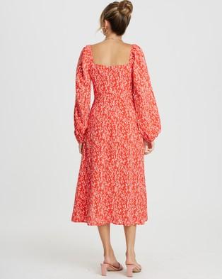 Savel Ivanca Midi Dress - Printed Dresses (Red Blossom)