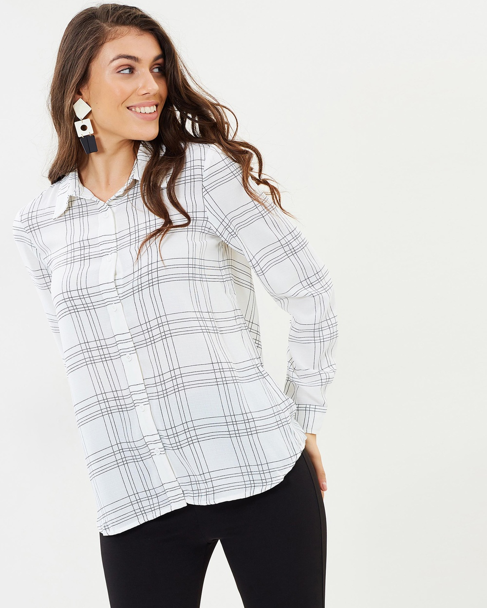 Atmos & Here ICONIC EXCLUSIVE Liana Button Up Shirt Tops White Check ICONIC EXCLUSIVE Liana Button Up Shirt