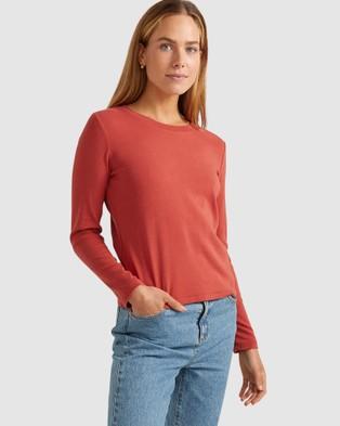 Sportscraft - Organic Cotton Long Sleeve Tee - T-Shirts & Singlets (Rust) Organic Cotton Long Sleeve Tee