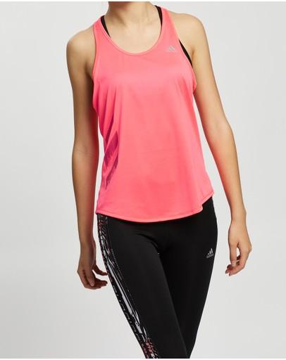 Adidas Performance Own The Run 3-stripes Pb Tank Top - Women's Signal Pink