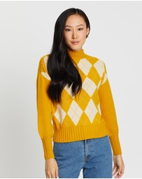 ONLY - Beril Check High Neck Pullover Knit
