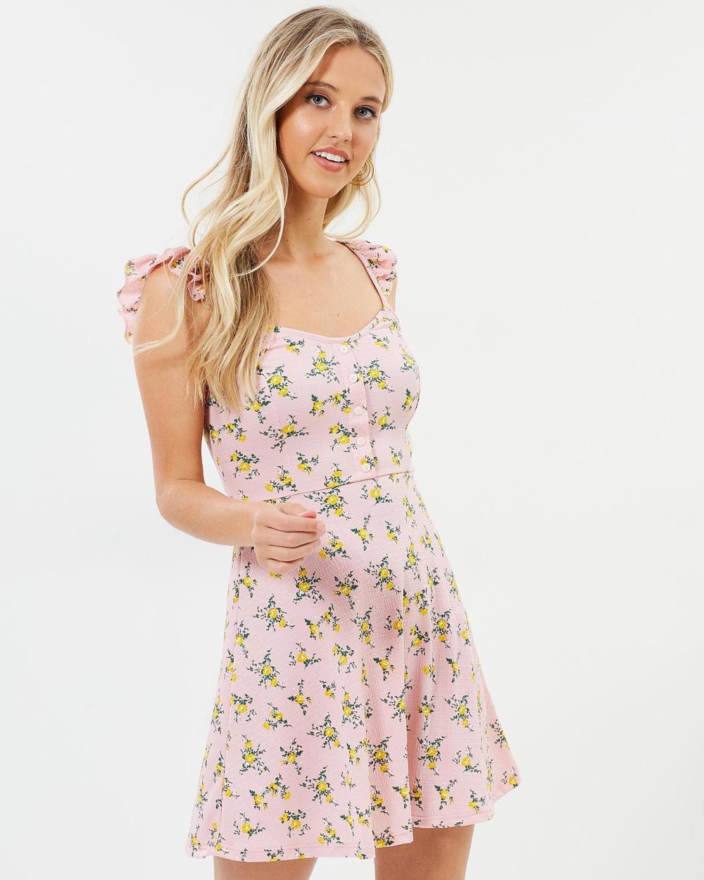 Miss Selfridge Floral Frill Button Dress Printed Dresses Multi Bright Floral Frill Button Dress