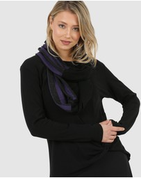 Faye Black Label - Purple Stripe Looped Scarf