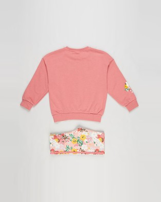 adidas Originals - HER Studio London Floral Crew Set Kids Sweats (Hazy Rose, Multicolour & Black)
