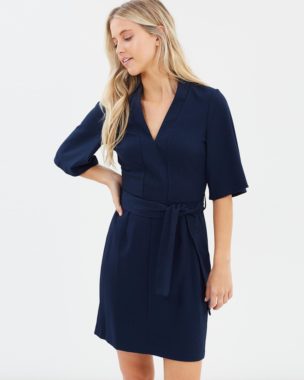 Miss Selfridge Self Tie Kimono Sleeve Dress Dresses Navy Self-Tie Kimono Sleeve Dress