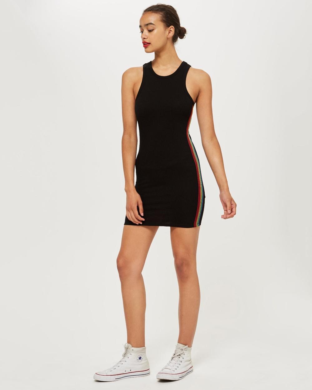 TOPSHOP Petite Black Rainbow Stripe Body-Con Dress