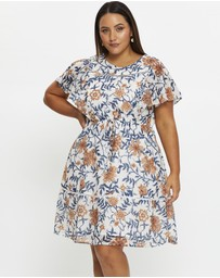 You & All - Plus Ladder Trim Ruffle Detail Skater Dress