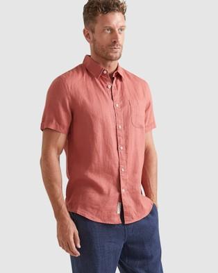 Sportscraft Short Sleeve Linen Shirt - Shirts & Polos (red)