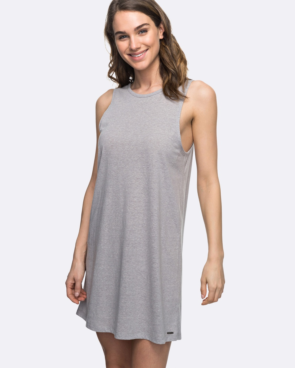 Roxy Womens Just Simple Solid Tank Dress Swimwear Heritage Heather Womens Just Simple Solid Tank Dress