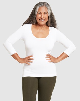 Boody Organic Bamboo Eco Wear 2 Pack 3 4 Sleeve Scoop Top - T-Shirts & Singlets (White)