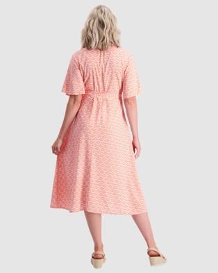 Maive & Bo Fete Maternity and Nursing Wrap Dress - Dresses (Pink/Orange)