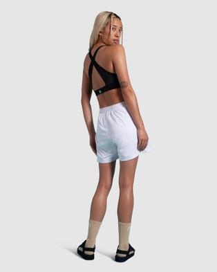 First Base Dunk Relaxed Shorts - High-Waisted (White)