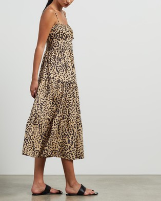 Faithfull The Brand Alexia Midi Dress - Printed Dresses (Shamari Animal Print)