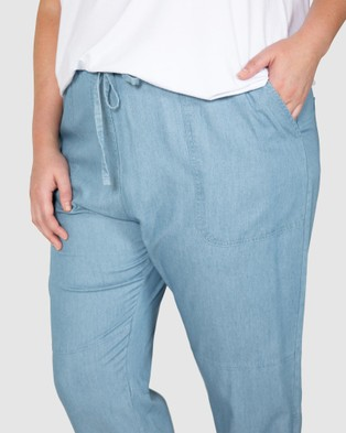Love Your Wardrobe Danica Chambray Casual Pants Indigo Blue