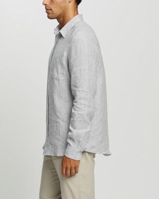 AERE Pinstripe Linen LS Shirt Casual shirts White