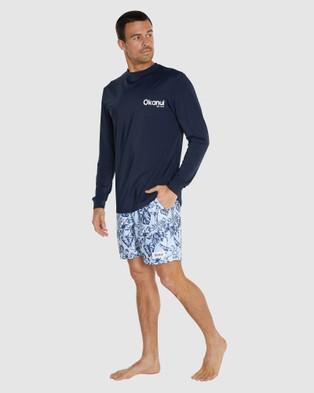 Okanui Logo Long Sleeve Rash Shirt - Swimwear (Blue)