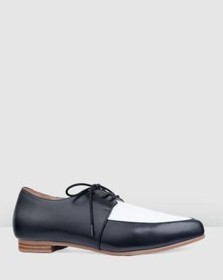 Bared Footwear Penguin Flat Lace Ups   Women's - Flats (Black & White)