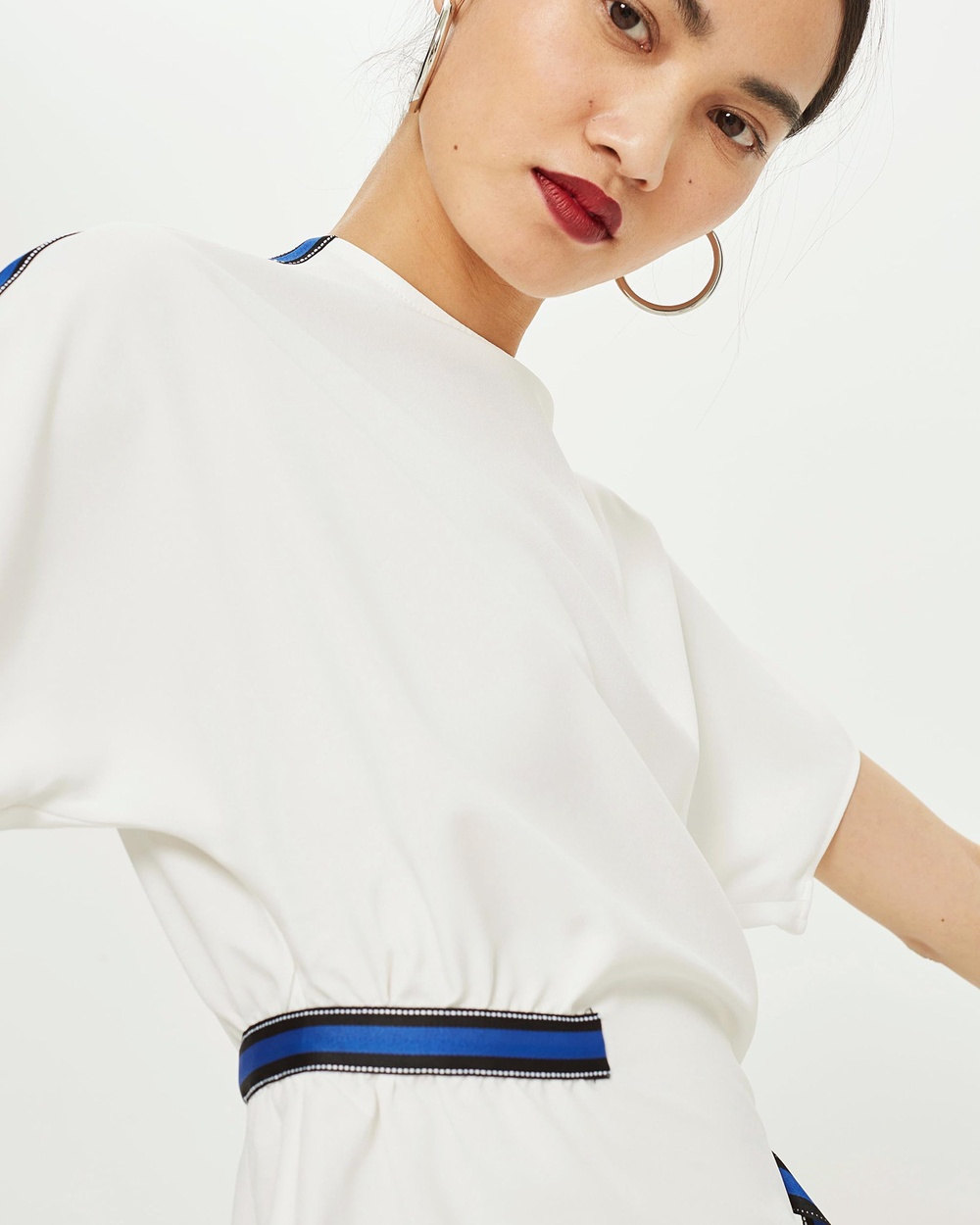 TOPSHOP Side Stripe Blouse Tops Ivory Side Stripe Blouse