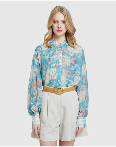 Oxford - Shabi Green Floral Top