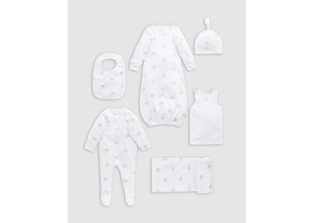Purebaby Newborn Hospital Pack Wraps & Blankets Pale Grey Leaf with Spot