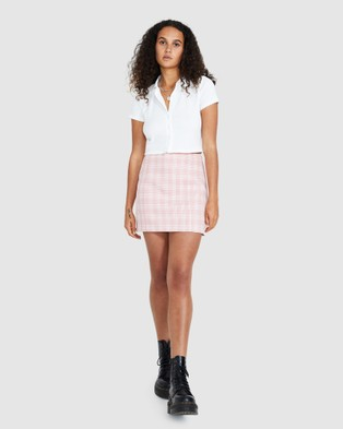 Neon Hart Pastel Plaid Mini Skirt - Skirts (PINK)