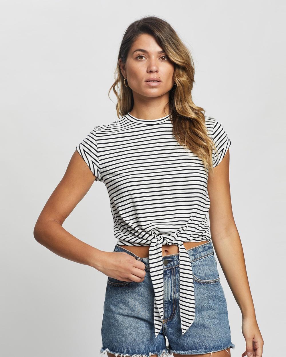 Atmos&Here - Cassie Tie Front Tee - T-Shirts & Singlets (Navy Stripe) Cassie Tie Front Tee