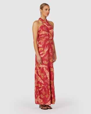 The Wolf Gang Valencia Twist Neck Dress - Printed Dresses (Red)